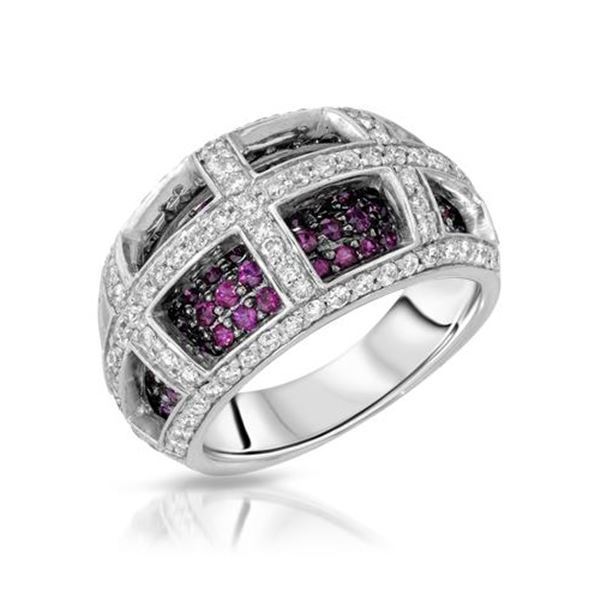Natural 2.22 CTW Ruby & Diamond Ring 14K White Gold - REF-135M2F