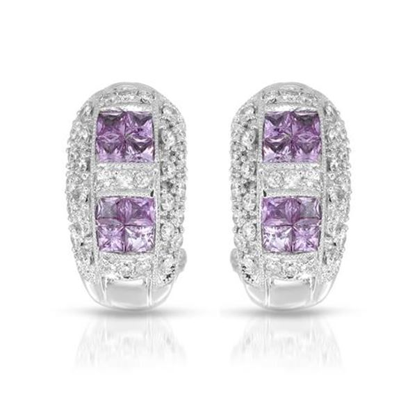 Natural 1.80 CTW Pink Sapphire & Diamond Earrings 18K White Gold - REF-150M3F