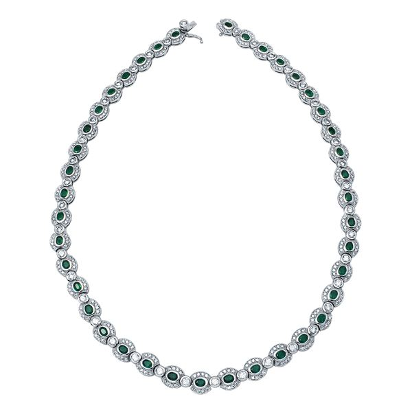 Natural 14.51 CTW Emerald & Diamond Necklace 14K White Gold - REF-974Y7N