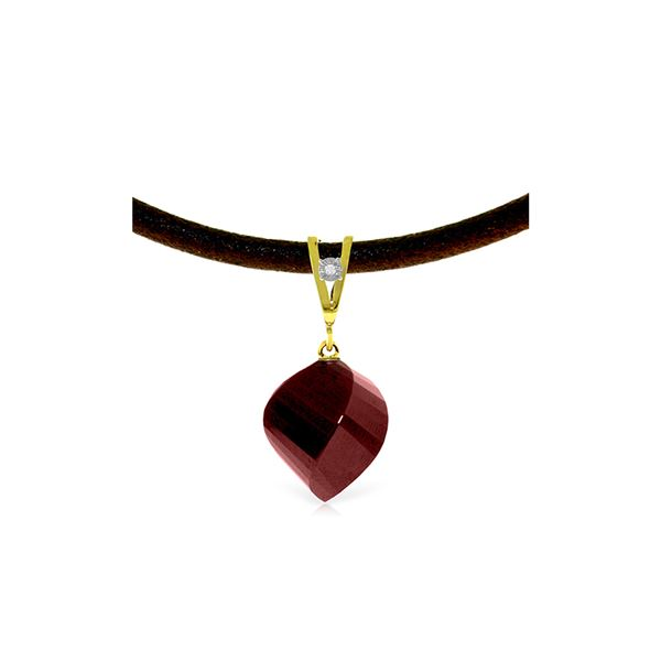 Genuine 15.26 ctw Ruby & Diamond Necklace 14KT Yellow Gold - REF-49K8V