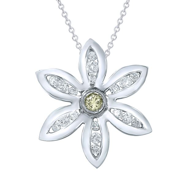 Natural 0.70 CTW Yellow Round Diamond Necklace 14K Gold - REF-99H2W