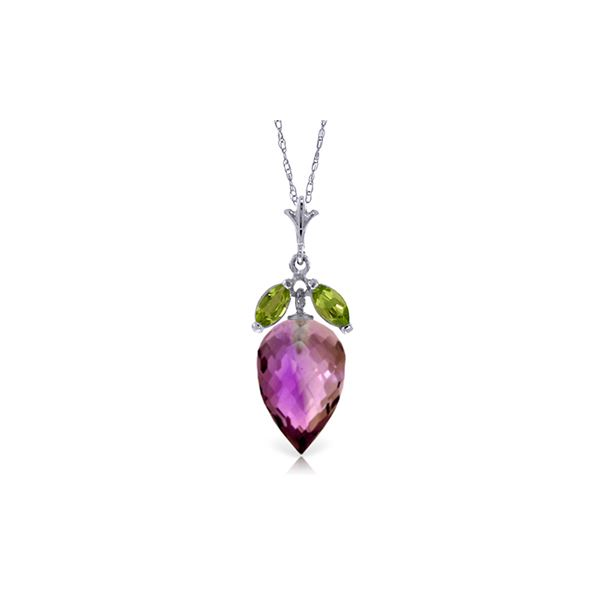Genuine 10 ctw Amethyst & Peridot Necklace 14KT White Gold - REF-28P9H