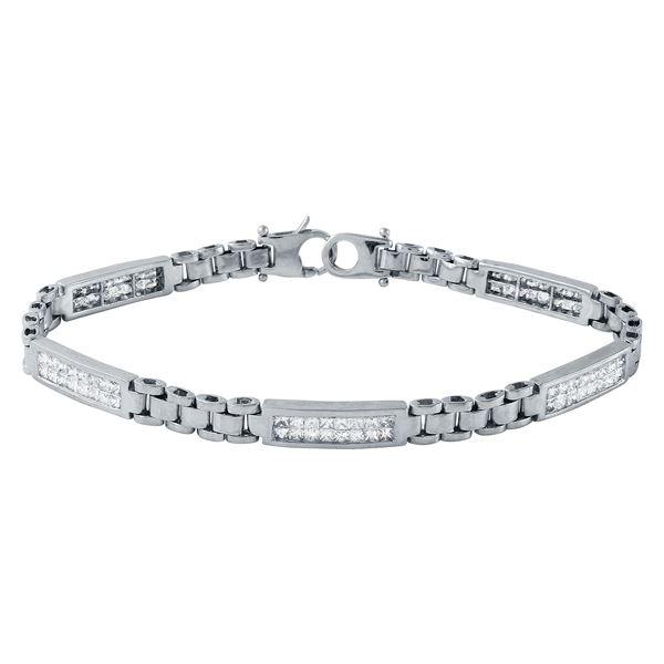 Natural 2.01 CTW Princess Diamond & Bracelet 14K White Gold - REF-208X8T
