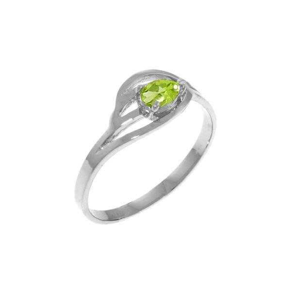 Genuine 0.30 CTW Peridot Ring 14KT White Gold - REF-30F5Z