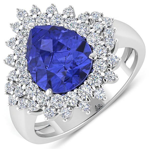 Natural 4.14 CTW Tanzanite & Diamond Ring 14K White Gold - REF-148M6T