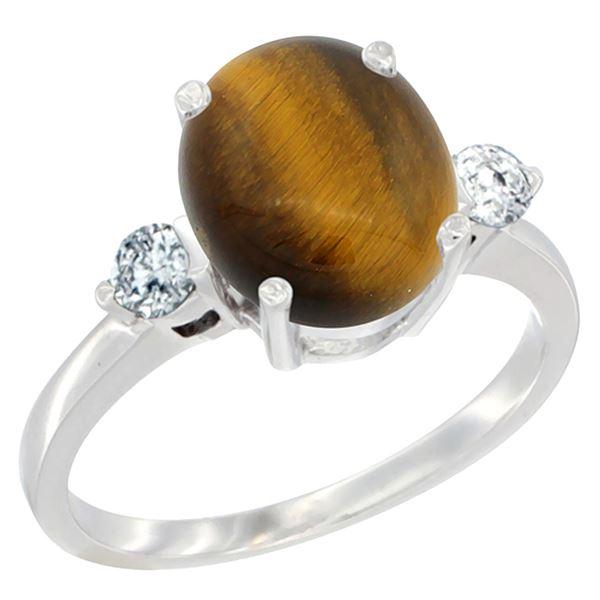 2.50 CTW Tiger Eye & Diamond Ring 10K White Gold - REF-60Y2V