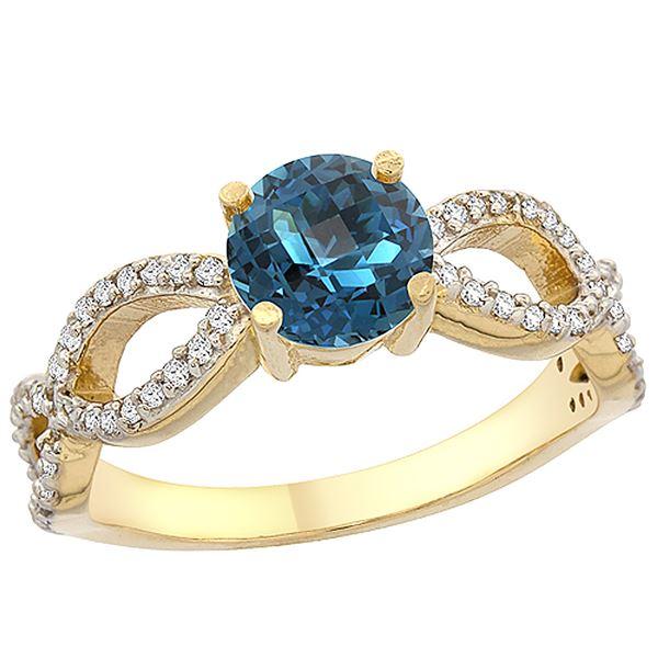 1.25 CTW London Blue Topaz & Diamond Ring 14K Yellow Gold - REF-50N2Y