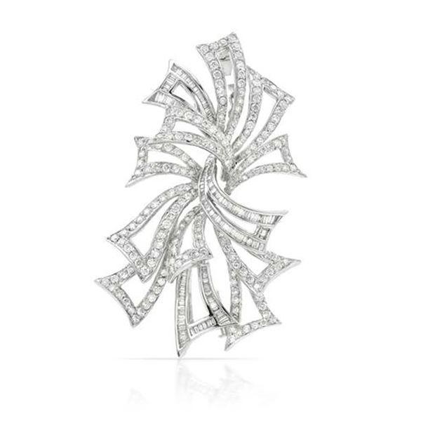 Natural 5.22 CTW Diamond & Baguette Brooch 18K White Gold - REF-711H2W