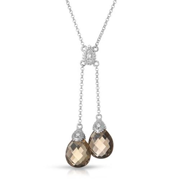 Natural 4.75 CTW Smoky Topaz & Diamond Necklace 14K White Gold - REF-32H4W