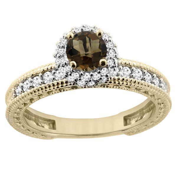 0.91 CTW Quartz & Diamond Ring 14K Yellow Gold - REF-65X9M