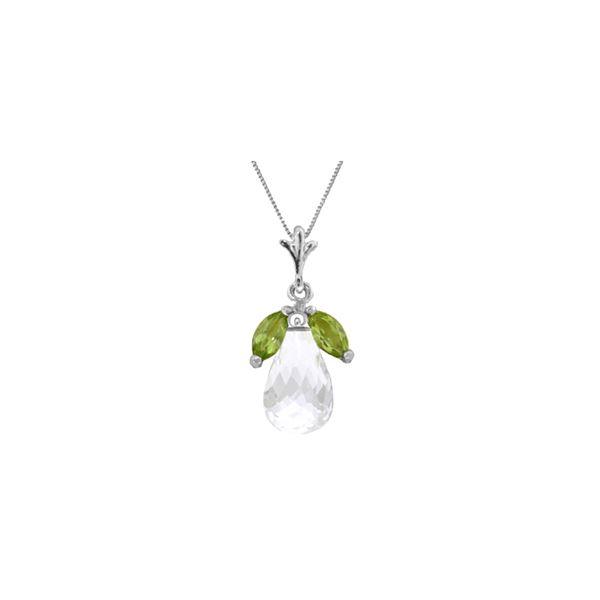 Genuine 7.2 ctw White Topaz & Peridot Necklace 14KT White Gold - REF-30T5A