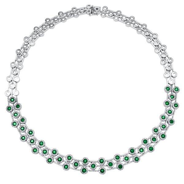 Natural 10.67 CTW Emerald & Emerald Necklace 14K White Gold - REF-750M6F