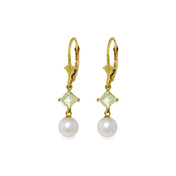 Genuine 5 ctw White Pearl & Aquamarine Earrings 14KT Yellow Gold - REF-32W2Y