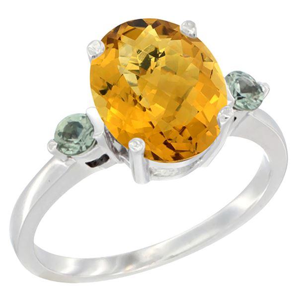 2.64 CTW Quartz & Green Sapphire Ring 14K White Gold - REF-31M4A
