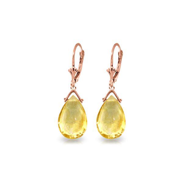 Genuine 10.20 ctw Citrine Earrings 14KT Rose Gold - REF-28M9T