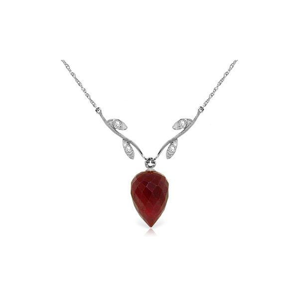 Genuine 13.02 ctw Ruby & Diamond Necklace 14KT White Gold - REF-42W2Y