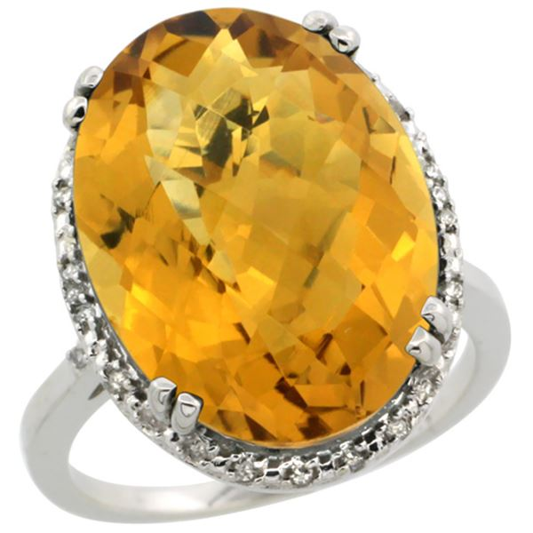 13.71 CTW Quartz & Diamond Ring 14K White Gold - REF-53X8M