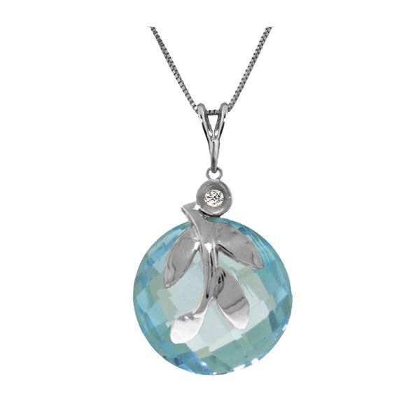 Genuine 5.32 ctw Blue Topaz & Diamond Necklace 14KT White Gold - REF-23A5K