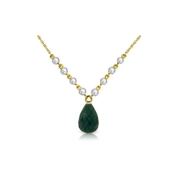 Genuine 15.6 ctw Green Sapphire Corundum & Diamond Necklace 14KT Yellow Gold - REF-139P8H
