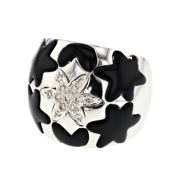 Natural 3.40 CTW Onyx & Diamond Ring 18K White Gold - REF-135X9T