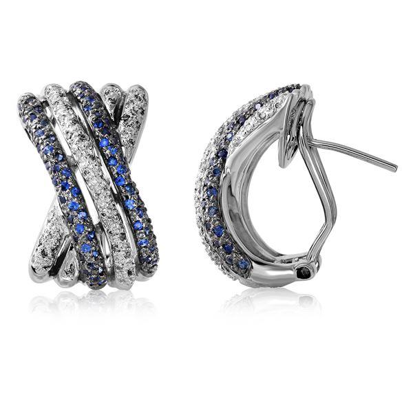 Natural 0.97 CTW Sapphire & Diamond Earrings 14K White Gold - REF-122H4W