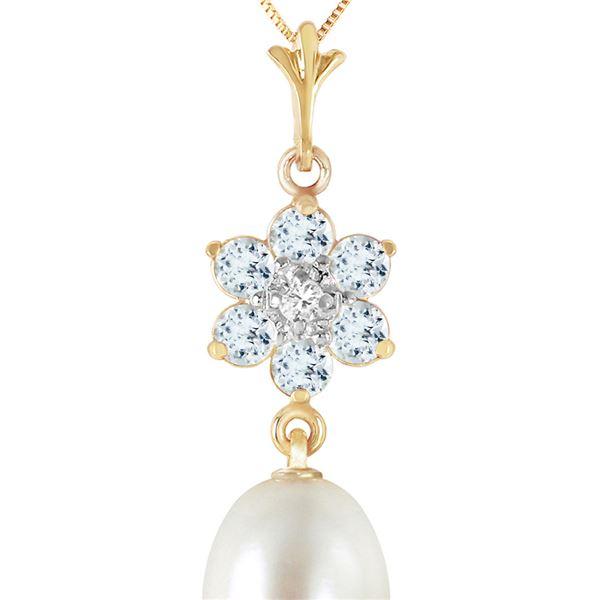 Genuine 4.53 ctw Pearl, Aquamarine & Diamond Necklace 14KT Yellow Gold - REF-30R2P
