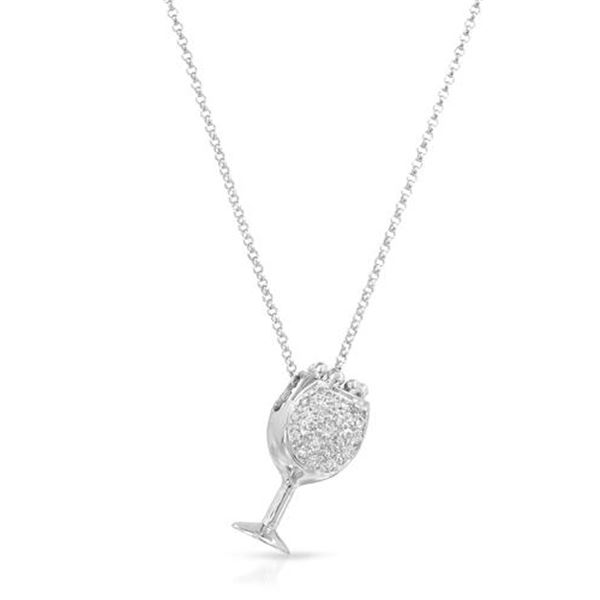 Natural 0.14 CTW Diamond Necklace 18K White Gold - REF-51Y3N