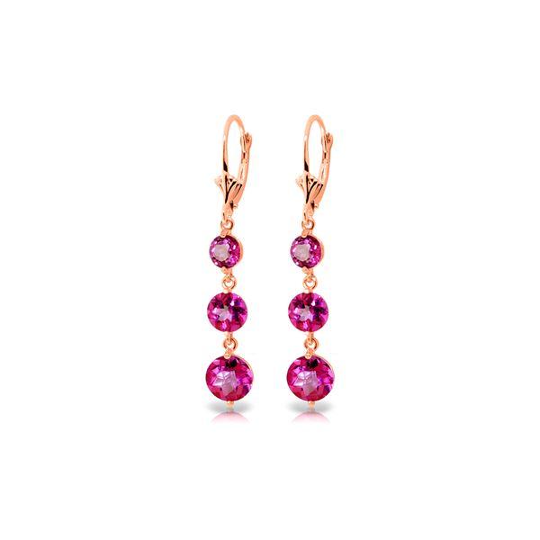 Genuine 7.2 ctw Pink Topaz Earrings 14KT Rose Gold - REF-44Y7F