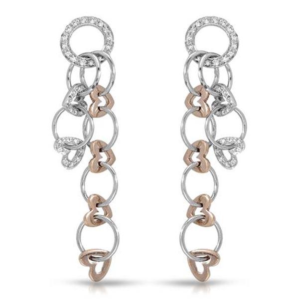 Natural 0.52 CTW Diamond Earrings 14K Two Tone Rose Gold - REF-99R9K