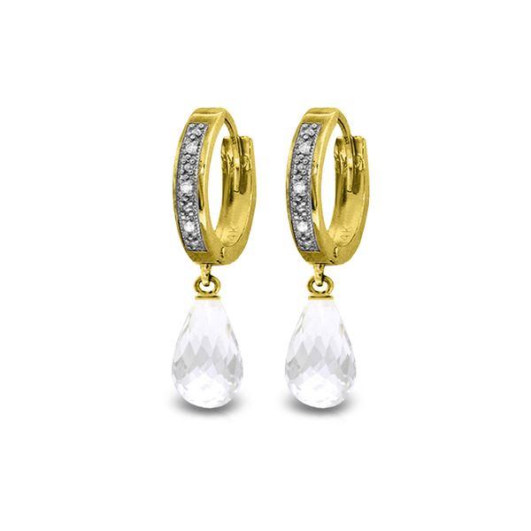 Genuine 4.54 ctw White Topaz & Diamond Earrings 14KT Yellow Gold - REF-52M2T