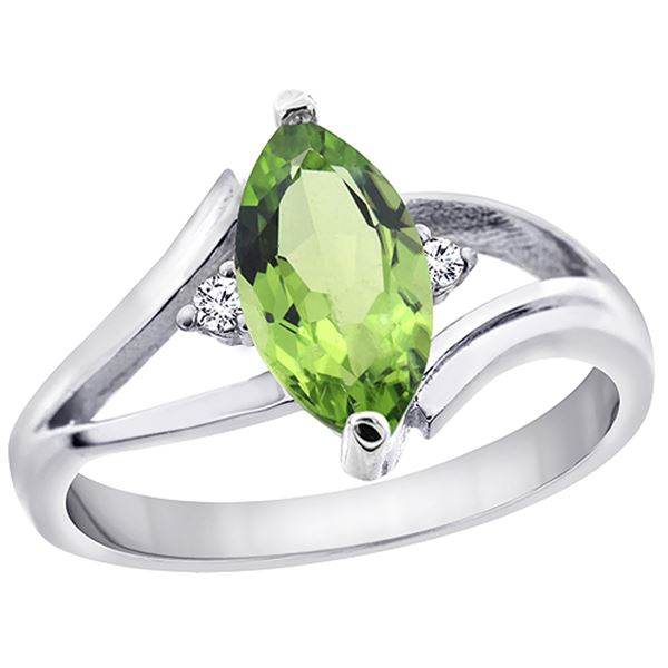 1.14 CTW Peridot & Diamond Ring 14K White Gold - REF-31F3N