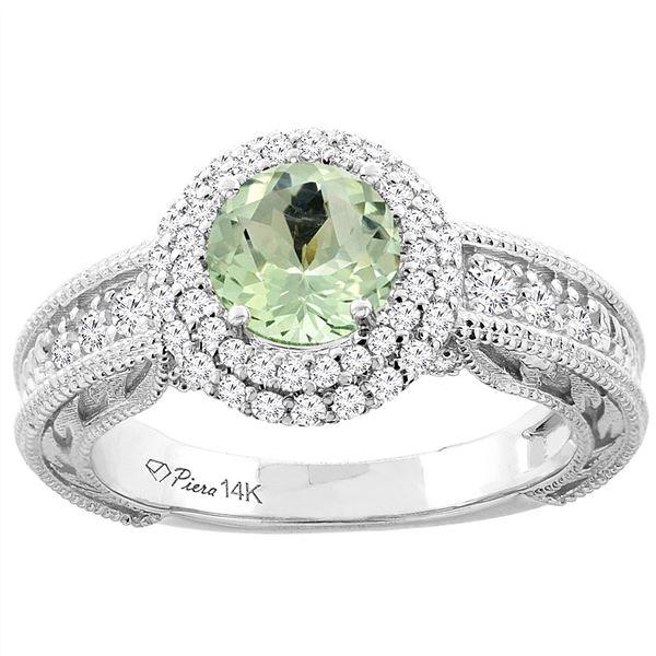 1.20 CTW Amethyst & Diamond Ring 14K White Gold - REF-86V4R