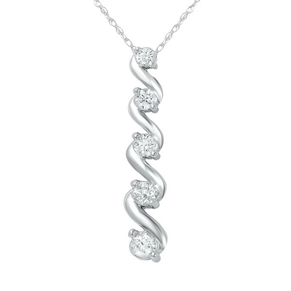 Natural 0.50 CTW Diamond Necklace 14K White Gold - REF-72X9T
