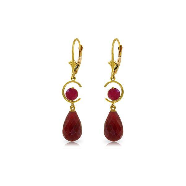 Genuine 18.6 ctw Ruby Earrings 14KT Yellow Gold - REF-49Z2N