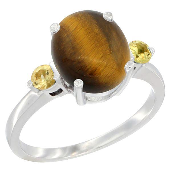 2.54 CTW Tiger Eye & Yellow Sapphire Ring 10K White Gold - REF-22K4W