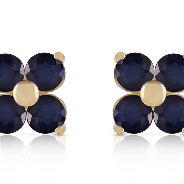 Genuine 1.15 ctw Sapphire Earrings 14KT Yellow Gold - REF-21K9V