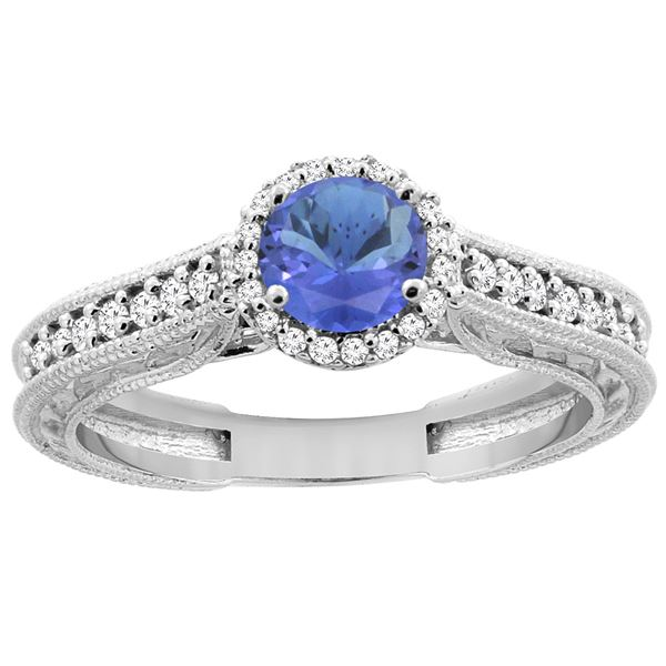 1.08 CTW Tanzanite & Diamond Ring 14K White Gold - REF-63K4W