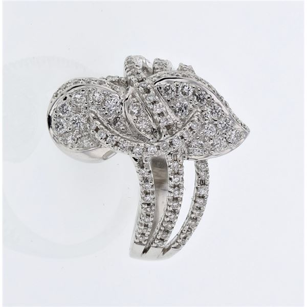 Natural 0.68 CTW Diamond Ring 18K White Gold - REF-137X7T