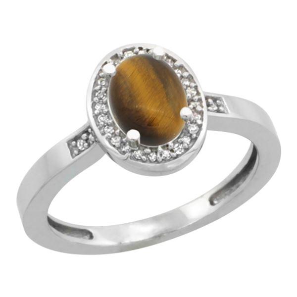 0.90 CTW Tiger Eye & Diamond Ring 10K White Gold - REF-30X7M