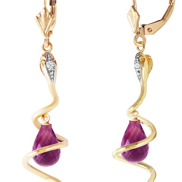 Genuine 4.56 ctw Amethyst & Diamond Earrings 14KT Yellow Gold - REF-91H4X