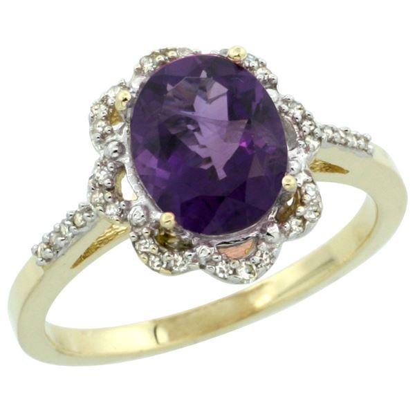 1.86 CTW Amethyst & Diamond Ring 10K Yellow Gold - REF-36R5H