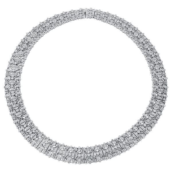 Natural 5.18 CTW Diamond Necklace 18K White Gold - REF-1408M5F