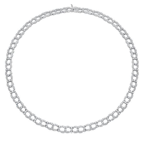 Natural 10.94 CTW Diamond Necklace 14K White Gold - REF-824M4F