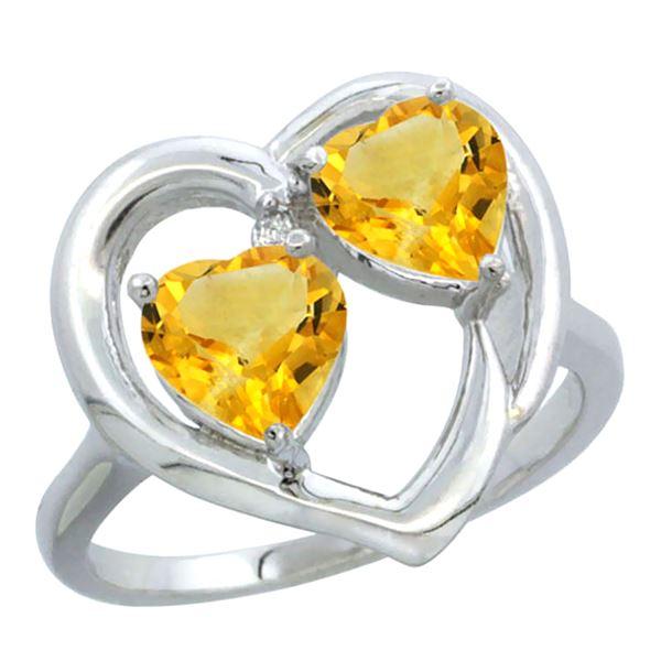 2.60 CTW Citrine Ring 14K White Gold - REF-33R9H