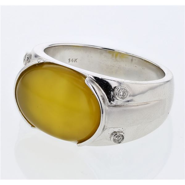Natural 6.14 CTW Quartz & Diamond Ring 14K White Gold - REF-120H6W