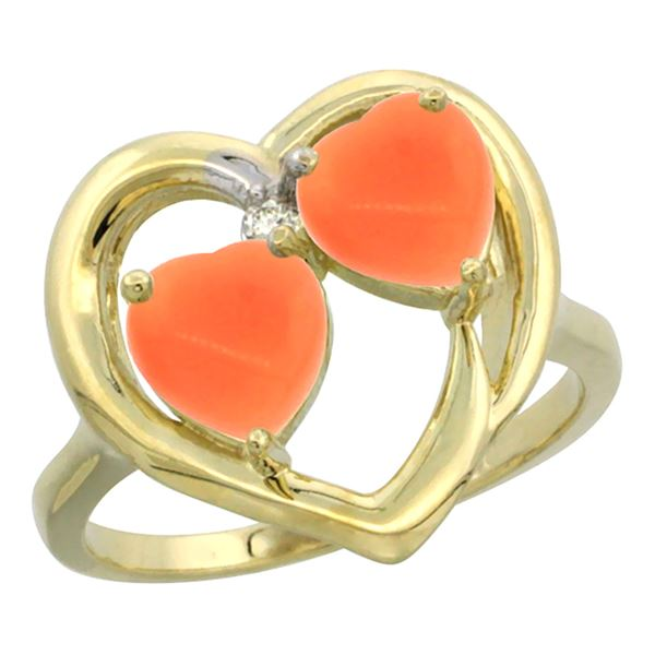 0.01 CTW Diamond & Natural Coral Ring 14K Yellow Gold - REF-33W2F