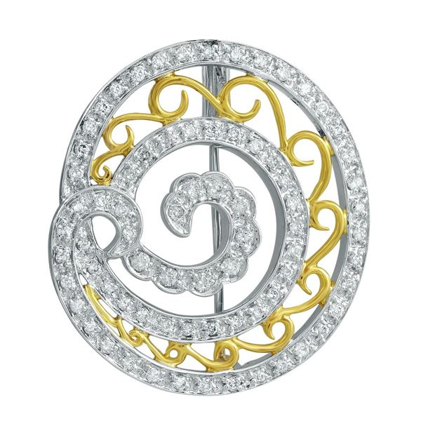 Natural 0.66 CTW Diamond Brooch 14K Two Tone Yellow Gold - REF-124M2F