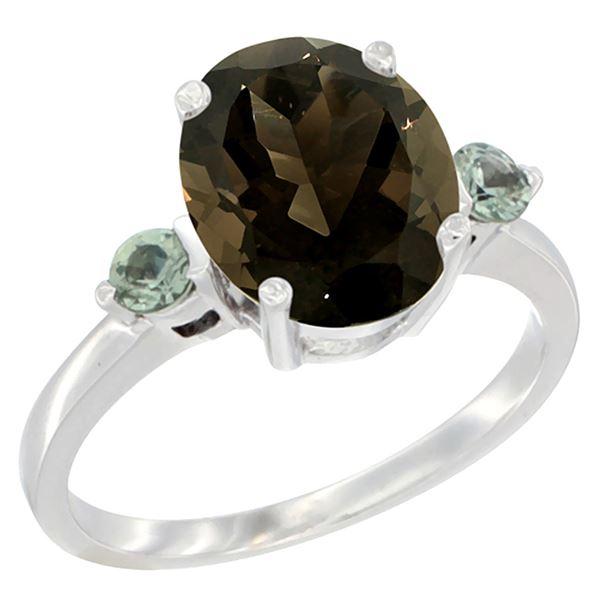 2.64 CTW Quartz & Green Sapphire Ring 10K White Gold - REF-24M5K