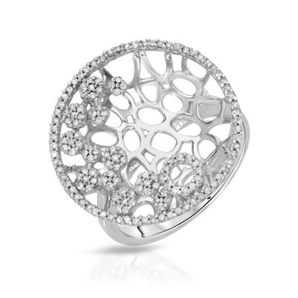 Natural 0.52 CTW Diamond Ring 14K White Gold - REF-66H6W