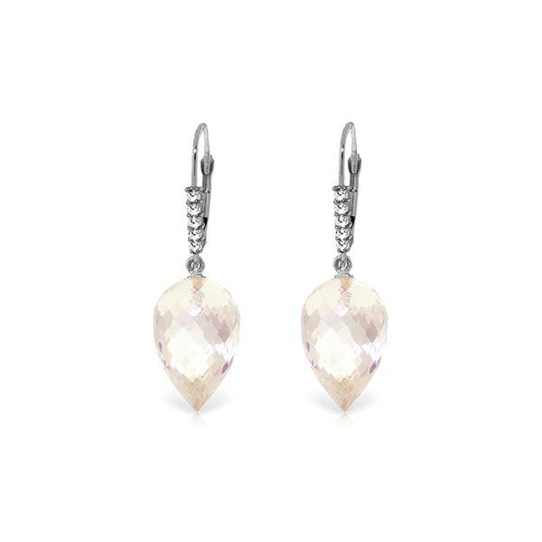 Genuine 24.65 ctw White Topaz & Diamond Earrings 14KT White Gold - REF-61W2Y